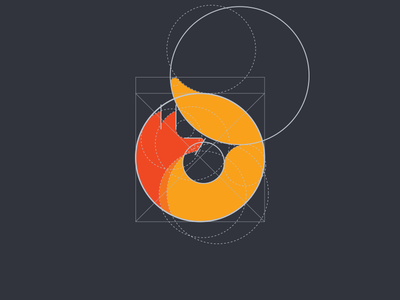 "Fox ""O"" [grid] fox animal o construction 0 logo icon clever smart design tieatie grid"
