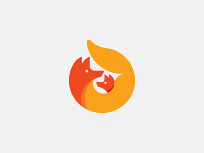 FOXY MOM icon  orange mark modern smart together family mom logo fox