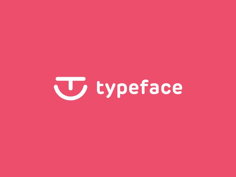 Typeface logo design typeface easy branding minimal simple letter t smile logo face type