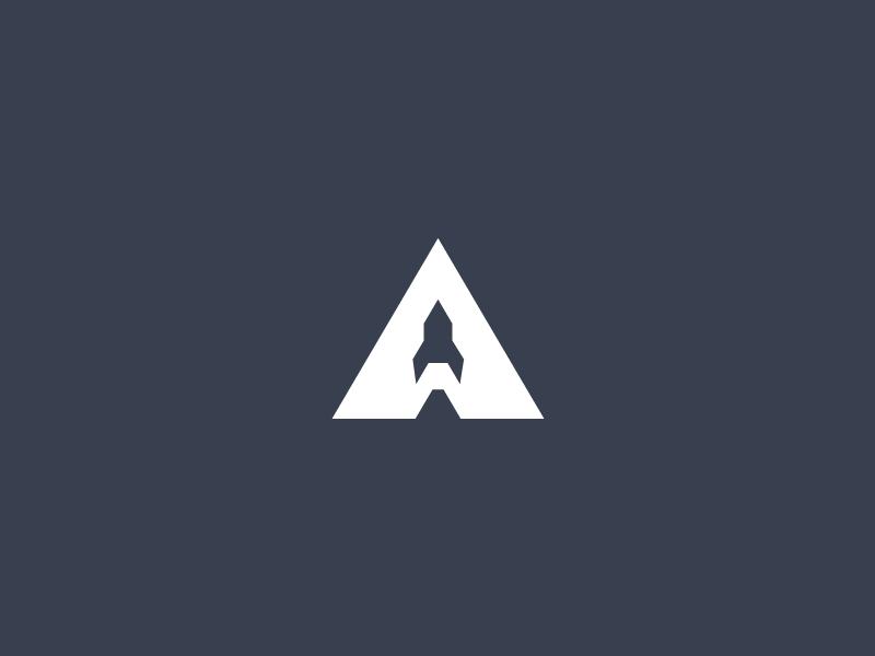 APOLLO 11 - A Rocket startup branding negative space minimal letter rocket icon mark logo