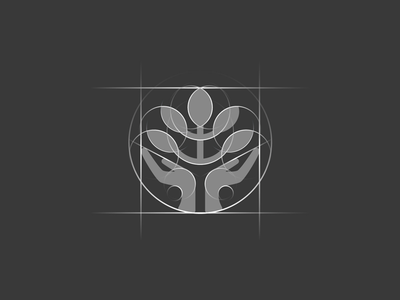 Caring arms icon [GRID] startup branding branding agency elegant logo letter icon negative space tree hands logo mark brand mark