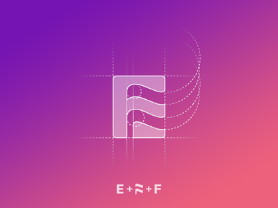 E + F + flag icon [GRID] dubai startup branding branding agency elegant logo icon letter e negative space logo negative space flag logo mark brand mark