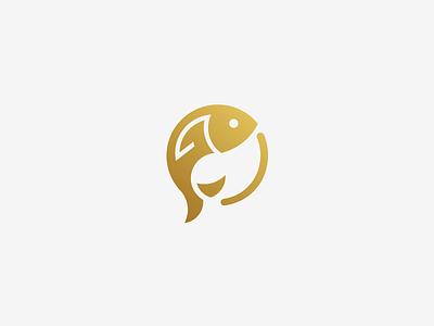 Goldfish fund venture capital fund goldfish fish icon negative space minimal logo mark minimal negative space logo simple logo logo designer