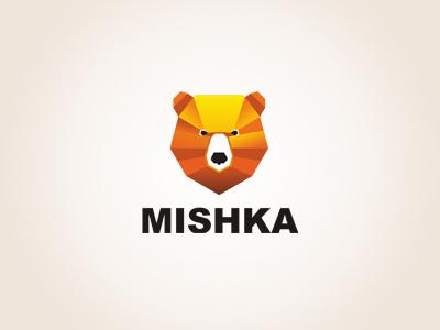 MISHKA logtype startup logo mark branding agency branding aiste bear mishka strong logo tie a colorful orange brown animal nose gradient bold head tieatie