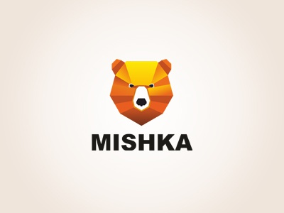MISHKA logtype startup logo mark branding agency branding aiste bear mishka strong logo tie a colorful orange brown animal nose gradient bold head tieatie