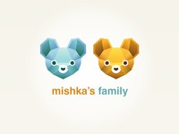 Mishkas Family mishka bear mouse family two colorful pair couple logo tieaite tie brand funny rebound color blue orange yellow cute