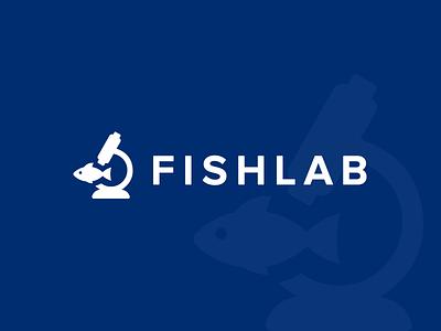 FishLab logo design laboratory fish logo royal blue logo design brand simple logo minimal icon logo mark geometry geometric