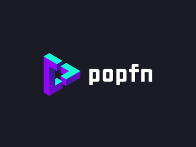 'popfn' logo redesign unique logo brand play button illusion logo design branding gradient colorful tieatie branding agency logo mark aiste
