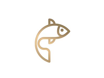Goldfish logo icon laboratory fish logo royal blue logo design brand simple logo minimal icon logo mark geometry geometric