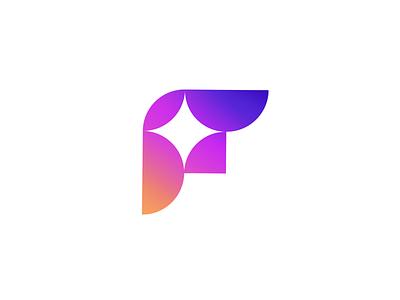 F icon unique logo brand f letter illusion logo design branding gradient colorful tieatie branding agency logo mark aiste