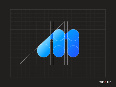M icon [GRID] construction grid branding m letter aiste tieatie logo agency colorful blue gradient