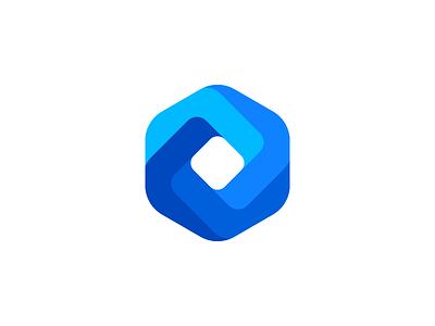 Blue Diamond crm company illusion object startup aiste brand designer colorful mark tieatie logo design connect hexagon geometric design brand icon round gradient color blue