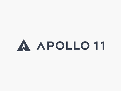 APOLLO 11 logo mark icon rocket letter minimal negative space branding startup
