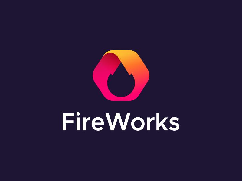 FireWorks logo design aiste brand designer startup logo design illusion icon brand infinity symbol company branding gradient m letter colorful monogram tieatie logo studio branding agency logo mark