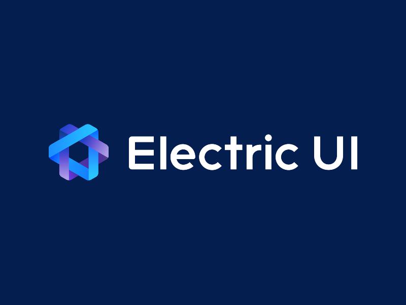 Electric UI final design colors blue lettering type branding vector icon typography design logo illustration