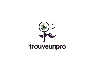 Trouve un pro logo logo trouve un pro looking glass man person eye green violet dark minimal light