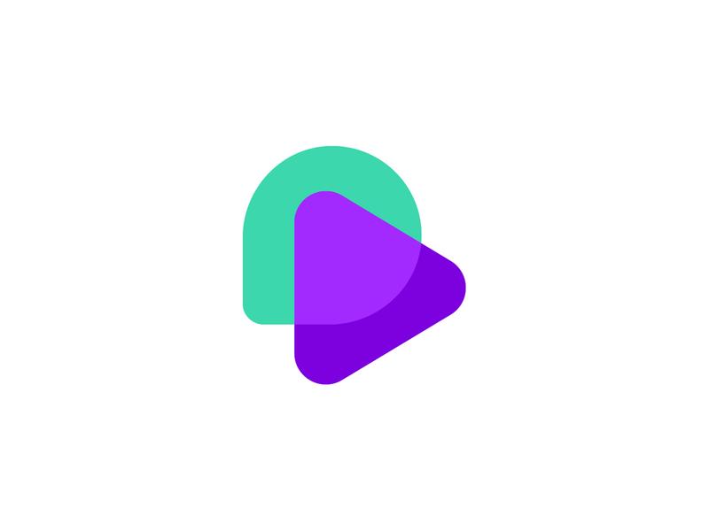 Talk & Play geometic colorful blue simple logo gradient icon chat app concept play chat brand aiste logo design minimal startup branding agency logo mark tieatie branding logo