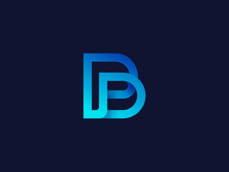 P + B + D monogram simple logo blue letter gradient brand aiste p b monogram b letter p letter monogram logo design branding agency logo mark minimal branding tieatie icon logo