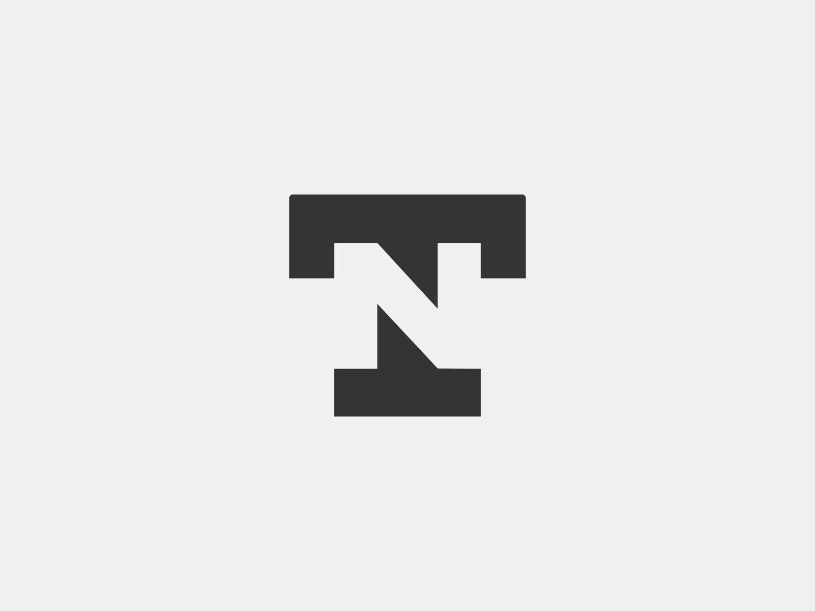 T+N negative space monogram icon branding agency logo mark tieatie branding
