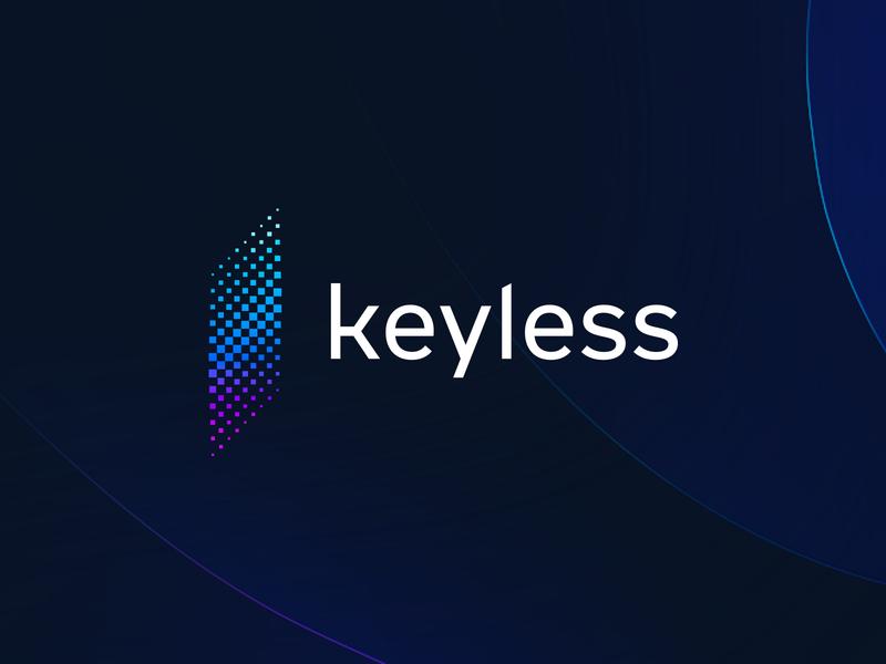 Keyless brand gradient icons gradient brand logo design decentralized security app biometrics biometric crypto logo mark startup minimal branding tieatie branding agency