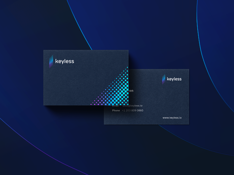 Keyless - business cards blockchaintechnology blockchain logo mark tieatie minimal brand architect brand director brand strategy authentication security crypto brand crypto biometric keyless branding brand agency brand gradient color inspiration gradient design gradient color