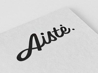 Aiste logo concept #1 aiste logo calligraphic type font black typography letters name tie tie a tie brand identity. typographic calligraphy