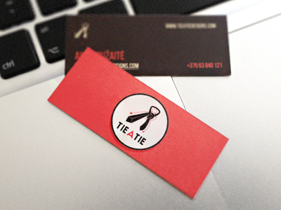 "New ""tie a tie"" business cards card cards tie tie a tie tieatie branding red black gray identity"