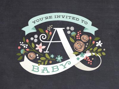 Banner Shower illustration lettering floral vintage chalkboard baby