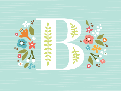 Storybook Initial illustration lettering floral childrens art