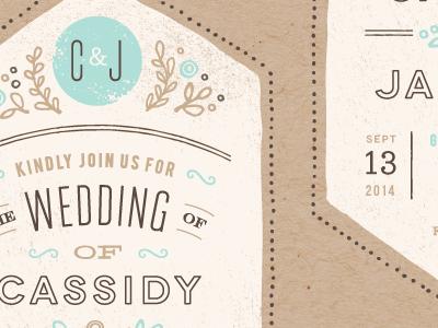 Cartwright typography stamp illustration vintage wedding