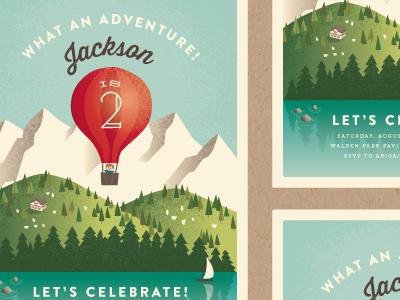 Greatest Adventure minted vintage travel birthday illustration stationery