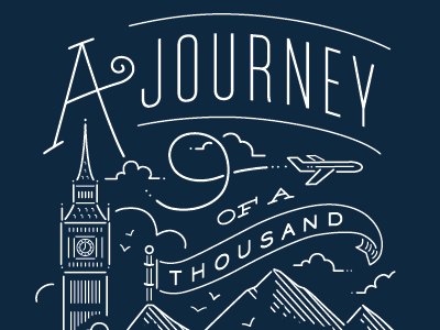 The Journey minted typography custom lettering hand lettering illustration single line weight