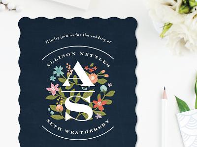 Heirloom Initials wedding invitation flowers typography jennifer wick