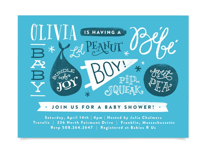 Baby names by jennifer wick dribbble baby names a fun hand lettered baby shower invite filmwisefo