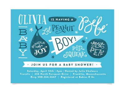 Baby Names baby invite stationery baby shower illustration hand lettering custom lettering typography