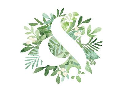 Leafy Ampersand jwickdesign wedding leaves organic ampersand