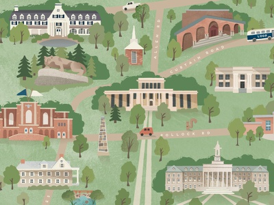 Scenes from Happy Valley we are rec hall old main college buildings penn state illustrated map