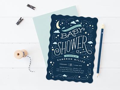 Moon & Stars moon stars vector j.wick design baby shower stationery illustration hand lettering