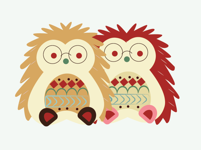 hedgehogs christmas flat minimal icon illustration cute illustrator illustraion design animation