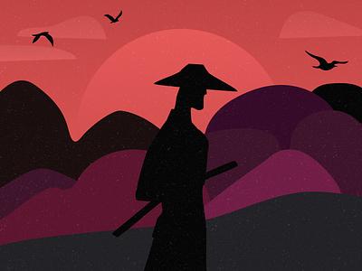 Bushido illustration samurai japan sunset bushido