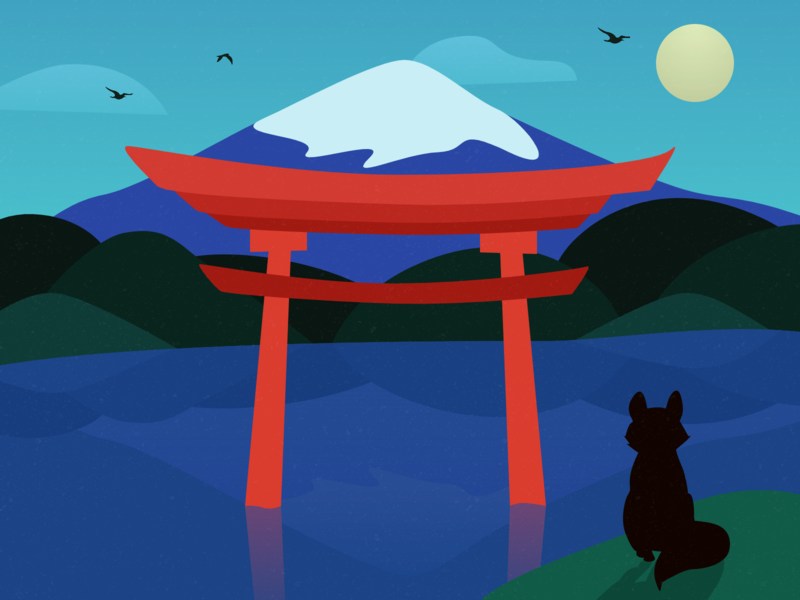 Torii mountains kawaguchi fuji lake fox mountain zen illustration japan torii
