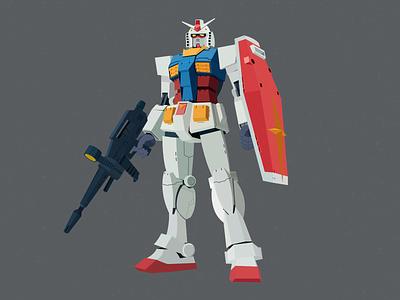 RX-78 suit mobile 0079 earth federation vector robots mech robot anime amuro ray gundam illustration