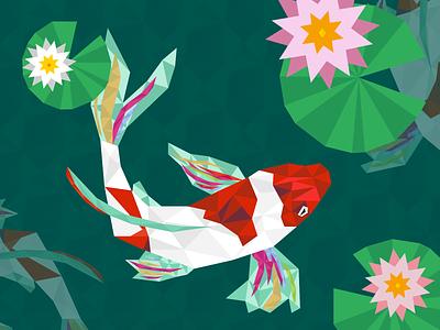 Koi fish japan nature illustraion lily koi