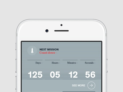 Next Mission Countdown counter countdown timer typography numbers ui iphone mobile ux app nasa rocket