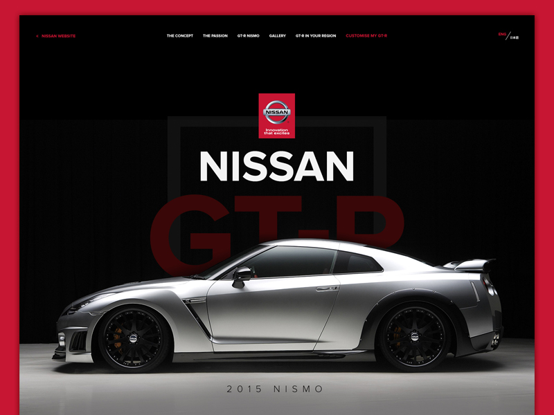 Nissan GT-R web design typography dashboard nissan cars photoshop design website ui homepage