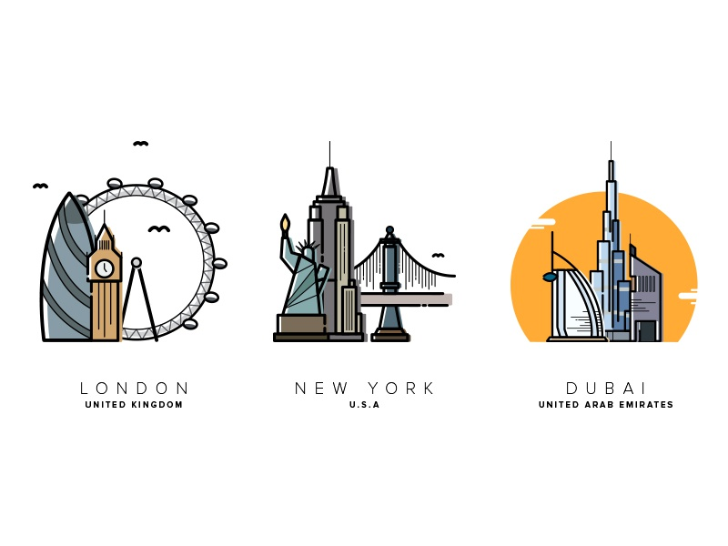 3 Cities burj khalifa new york design clean app illustrator vector cartoon illustration dubai london city