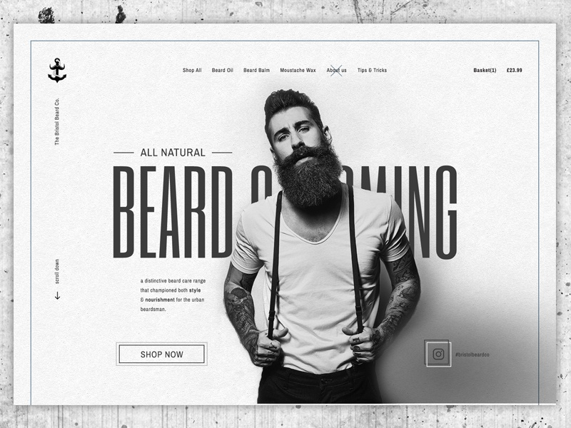 Beard Grooming Concept web design e-commerce concept grey ecommerce black photoshop ui beard website