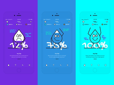 Brief #7 - Water.club water funky illustration clean bold app design ui design app ios blue ui