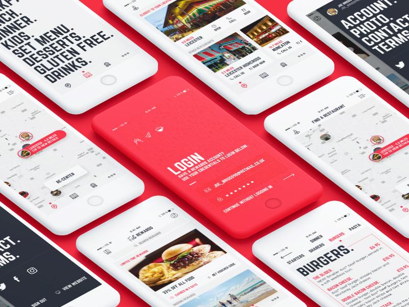Frankie & Benny's iOS App restaurant red mobile sketch ux food ui app ios