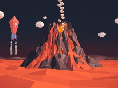 Volcanic low poly space cinema 4d rocket volcano